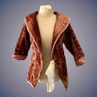 Wonderful Doll Velvet Jacket Made W/ Antique Material Fancy