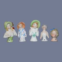 Wonderful Lot of Miniature China Head Half Dolls FIVE DOLLS