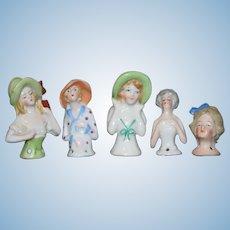Wonderful Lot of Miniature China Head Half Dolls FIVE DOLLS