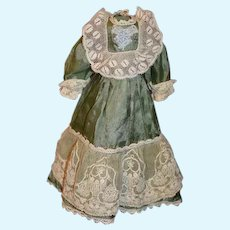 Old Sweet Doll Dress Silk and Lace Fancy for Petite Doll