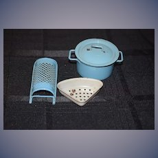 Nice Old Blue Doll Enamel Ware Lidded Pot Grater and Strainer Miniature Doll Size