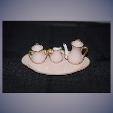 Vintage Doll Miniature Teaset Staffordshire Tea Set Dollhouse W/ Tray