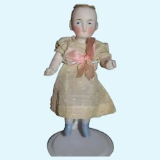 Antique All Bisque Doll Jointed Dollhouse Miniature Dressed