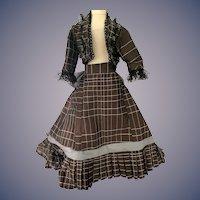 Gorgeous Hand Made Doll Dress Fashion Doll Bolero Jacket with Fringe and Matching Skirt w/ Train