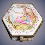 Antique Miniature Enamel Dresden Hinged Trinket Box Vanity