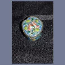 Old Miniature Ornate Hinged Enamel Box Chinese