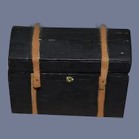 Vintage Doll Miniature Artist Wood Leather Dome Trunk Signed