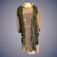 Wonderful Old Dress Hand Made Beaded Velvet & Silk