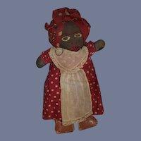 Old Doll Black Cloth Stockinette Rag Doll