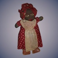 Old Doll Black Cloth Stockinette Rag Doll