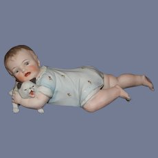 Old Bisque Piano Baby Doll Baby With Cat Figurine