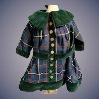 Vintage Doll Plaid Coat Dress W/ Matching Bonnet Fancy Old Buttons Velvet Trim