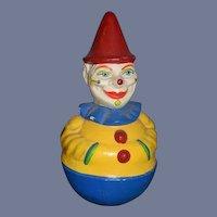 Old Schoenhut Roly Poly Clown Doll Sweet Papier Mache