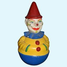 Old Schoenhut Roly Poly Clown Doll Sweet Papier Mache