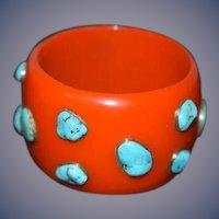Wonderful Funky Bracelet Turquoise Stones Sterling Chunky Cuff Bangle