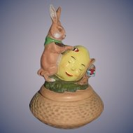 Vintage Marolin Rabbit Painting Easter Egg Trinket Box Papier Mache