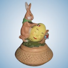 Vintage Marolin Rabbit Painting Easter Egg Trinket Box Papier Mache