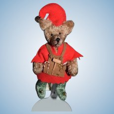 Artist Teddy Bear Miniature Half Nelsons Santa Helper Elf W/ Tools Signed Dated