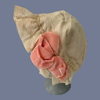 Wonderful Doll Old Lace Bonnet Hat W/ Velvet Bows
