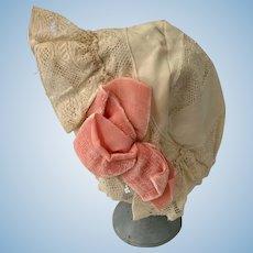 Wonderful Doll Old Lace Bonnet Hat W/ Velvet Bows