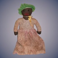 Old Black Cloth Doll Rag Doll Sweet Unusual Face