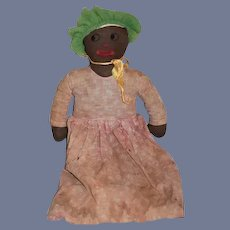 Old Black Cloth Doll Rag Doll Sweet Unusual Face