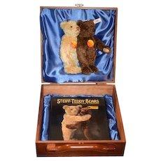 Steiff Teddy Bear Set Love For a Life Time Wood Case W/ Two Steiff Teddy Bears and Book MINT Limited 500