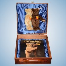 Steiff Teddy Bear Set Love For a Life Time Wood Case W/ Two Steiff Teddy Bears and Book MINT Limited 500