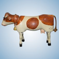 Old Schoenhut Cow Wood Jointed For Doll