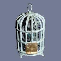 Old Doll Miniature Metal Birdcage W/ Bird Dollhouse Bird Cage