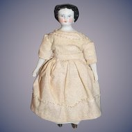 Antique Doll China Head Flat Top Petite Size Miniature Dollhouse