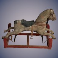 Antique Doll Child's Rocking Riding Horse Wood Carved Glass Eyes Great Size Rocking Horse Toy
