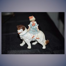 Old Piano Baby Victorian Girl on Dog Doll Figurine Miniature ADORABLE