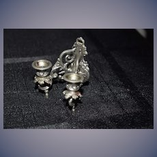 OLD Doll Miniature Metal Pewter Ornate Dollhouse Sconce WG