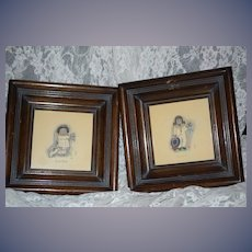 Old Miniature Shadow Box Frame W/ Pencil Drawings Pictures Samson Delilah Folk Art Miniature Painting