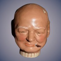 Old Sculpture Terracotta Figurine or Head Winston Churchill German Doll
