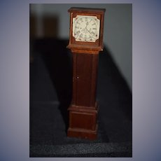 Vintage Doll Miniature Grandfather Clock Dollhouse Wood Carved