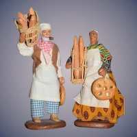 Old Terracotta Figurines Doll Bread Maker and Seller Two Figurines