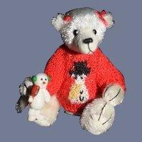 "Miniature Artist Teddy Bear Mary Bures IGMA Jointed ""Frosty""  W/ Snowman"