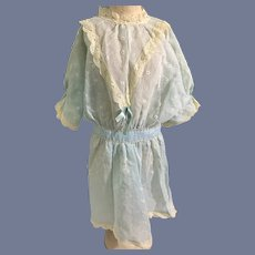 Sweet Vintage Doll Dress Drop Waist Cotton Lace Trim Simple and Sweet