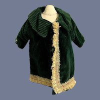 Old Hand Made Doll Jacket Coat W/ Matching Hat Bonnet Fancy Trim Set