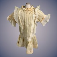 Antique Old Cotton Lace Doll Dress Drop Waist Threaded Ribbon