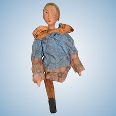 Old Doll Carved Wood Jointed Primitive