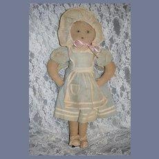 Old Cloth Doll Folk Art Sewn Features Dressed Original Clothing