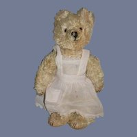 Old Teddy Bear Sweetest Face Dressed in Apron Glass Eyes Jointed