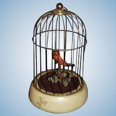 Old Miniature Wind Up Bird in Bird Cage Doll Size