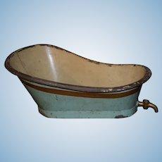 Antique Doll Bath Tub Large Size W/ Faucet