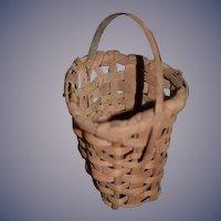Old Miniature Hand Woven Basket W/ Handle Folk Art