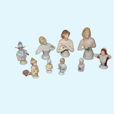 Antique Doll Half Doll China Heads LOT  NINE Dolls