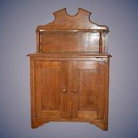 Old Doll Child's Miniature Oak Cupboard Cabinet